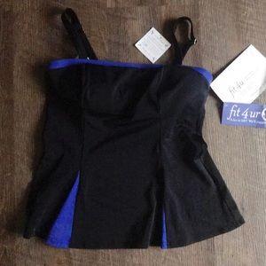 Fit 4 U Swim Top Black Blue Sz 12